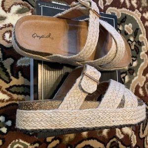 Boho Natural Hemp Fiber Woven Sandals New in Box